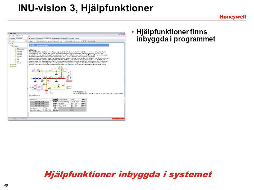 40 INU-vision 3, Hjälpfunktioner •Hjälpfunktioner finns inbyggda i programmet Hjälpfunktioner inbyggda i systemet