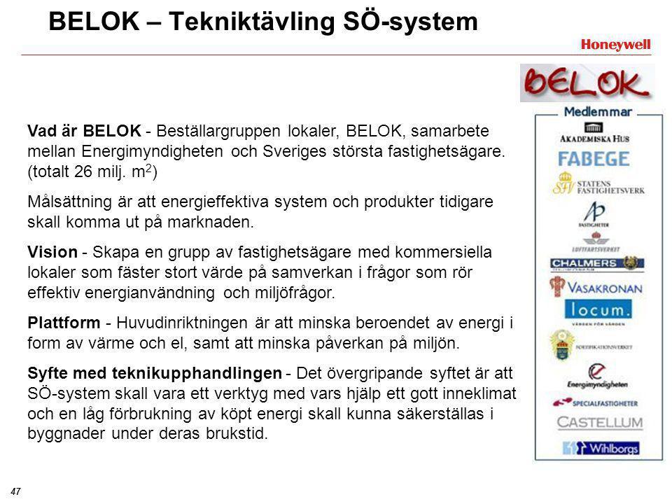 47 Vad är BELOK - Beställargruppen lokaler, BELOK, samarbete mellan Energimyndigheten och Sveriges största fastighetsägare. (totalt 26 milj. m 2 ) Mål