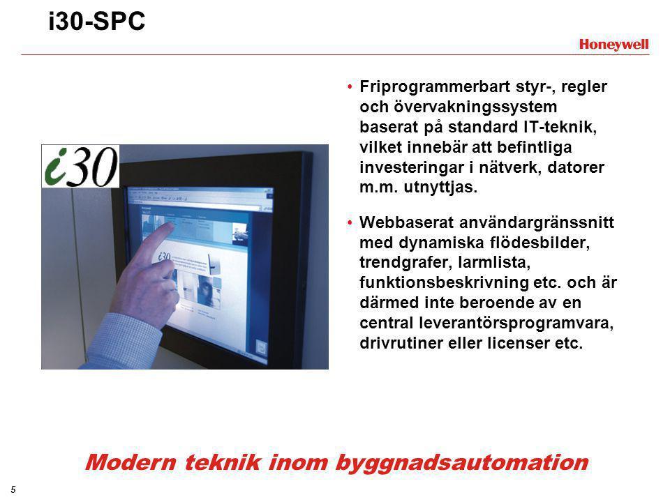 5 i30-SPC •Friprogrammerbart styr-, regler och övervakningssystem baserat på standard IT-teknik, vilket innebär att befintliga investeringar i nätverk