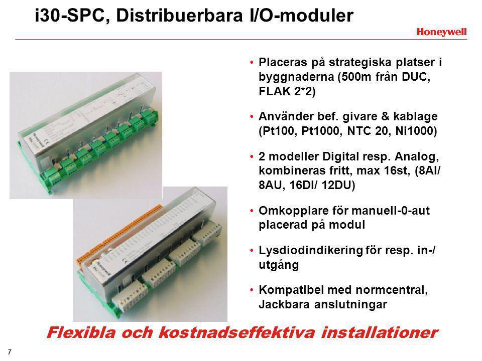 7 i30-SPC, Distribuerbara I/O-moduler •Placeras på strategiska platser i byggnaderna (500m från DUC, FLAK 2*2) •Använder bef. givare & kablage (Pt100,