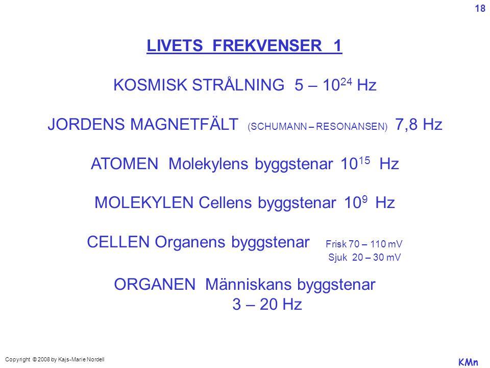 LIVETS FREKVENSER 1 KOSMISK STRÅLNING 5 – 10 24 Hz JORDENS MAGNETFÄLT (SCHUMANN – RESONANSEN) 7,8 Hz ATOMEN Molekylens byggstenar 10 15 Hz MOLEKYLEN Cellens byggstenar 10 9 Hz CELLEN Organens byggstenar Frisk 70 – 110 mV Sjuk 20 – 30 mV ORGANEN Människans byggstenar 3 – 20 Hz KMn Copyright © 2008 by Kajs-Marie Nordell 18