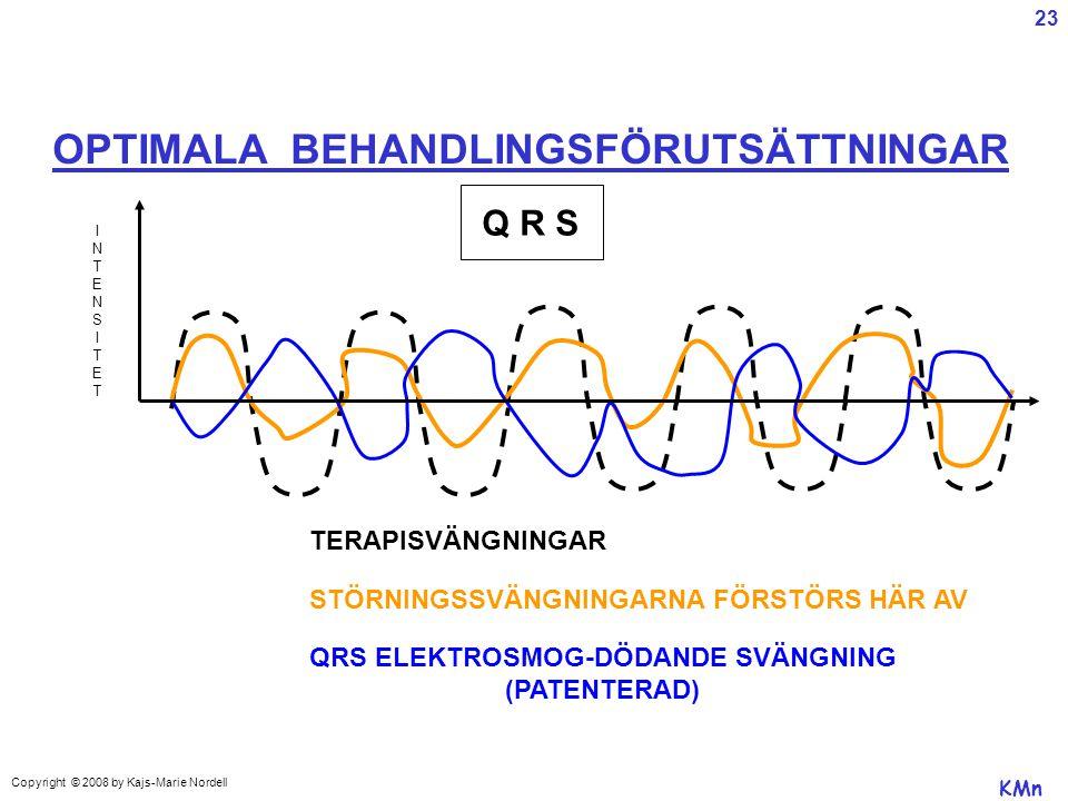 OPTIMALA BEHANDLINGSFÖRUTSÄTTNINGAR INTENSITETINTENSITET TERAPISVÄNGNINGAR QRS ELEKTROSMOG-DÖDANDE SVÄNGNING (PATENTERAD) Q R S KMn STÖRNINGSSVÄNGNINGARNA FÖRSTÖRS HÄR AV Copyright © 2008 by Kajs-Marie Nordell 23