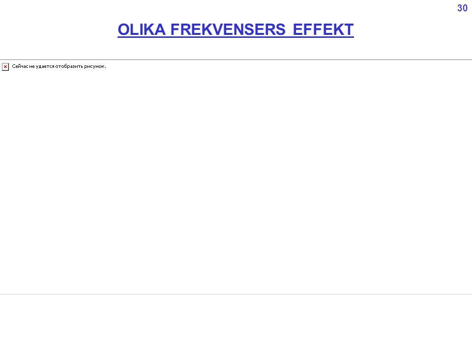 OLIKA FREKVENSERS EFFEKT 30