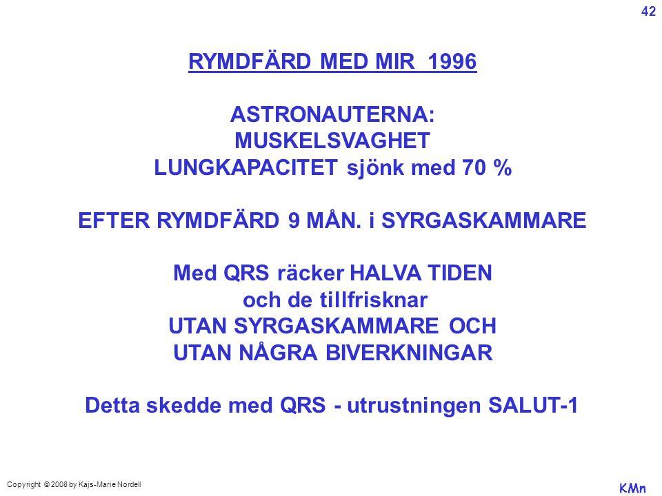 Copyright © 2008 by Kajs-Marie Nordell RYMDFÄRD MED MIR 1996 ASTRONAUTERNA: MUSKELSVAGHET LUNGKAPACITET sjönk med 70 % EFTER RYMDFÄRD 9 MÅN.