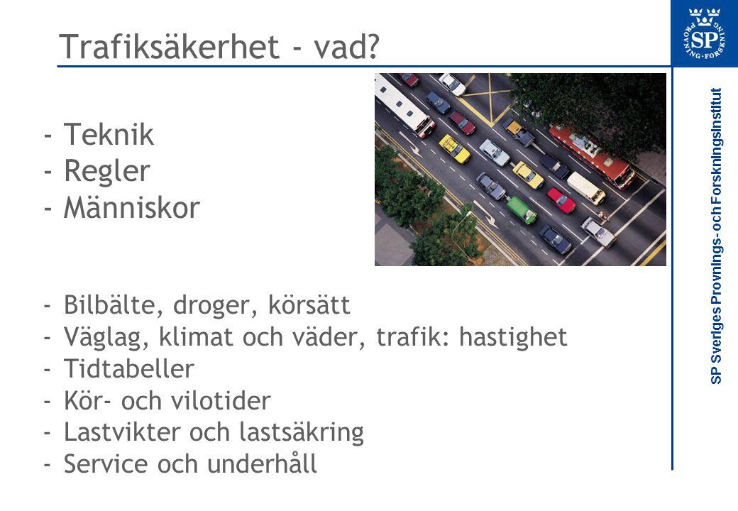 SP Sveriges Provnings- och Forskningsinstitut Trafiksäkerhet - vad? -Teknik -Regler -Människor -Bilbälte, droger, körsätt -Väglag, klimat och väder, t
