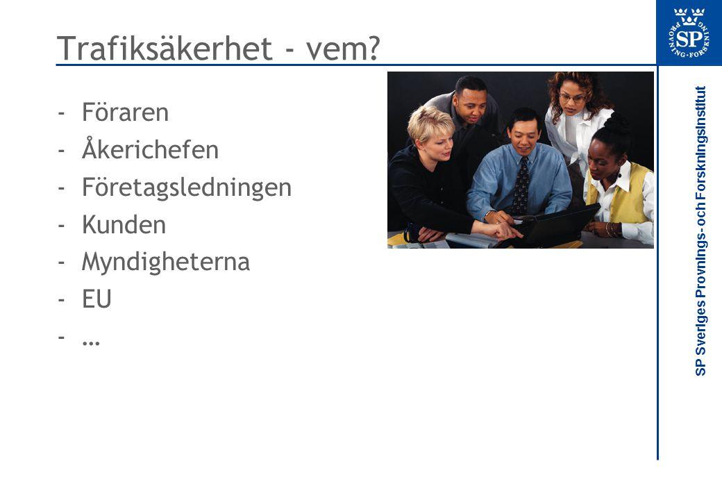 SP Sveriges Provnings- och Forskningsinstitut Trafiksäkerhet - vem? -Föraren -Åkerichefen -Företagsledningen -Kunden -Myndigheterna -EU -…