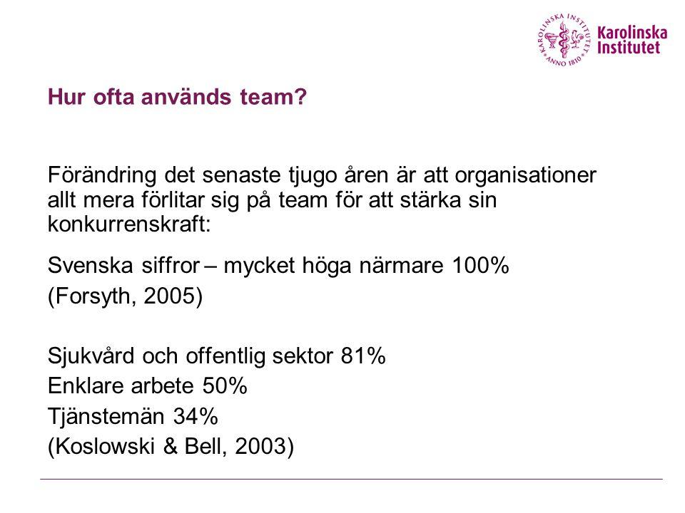 Skillnad team och grupp Grupper En mängd individer som är samlade Team Människor som arbetar tillsammans för att nå ett gemensamt mål.  Har ett mål –