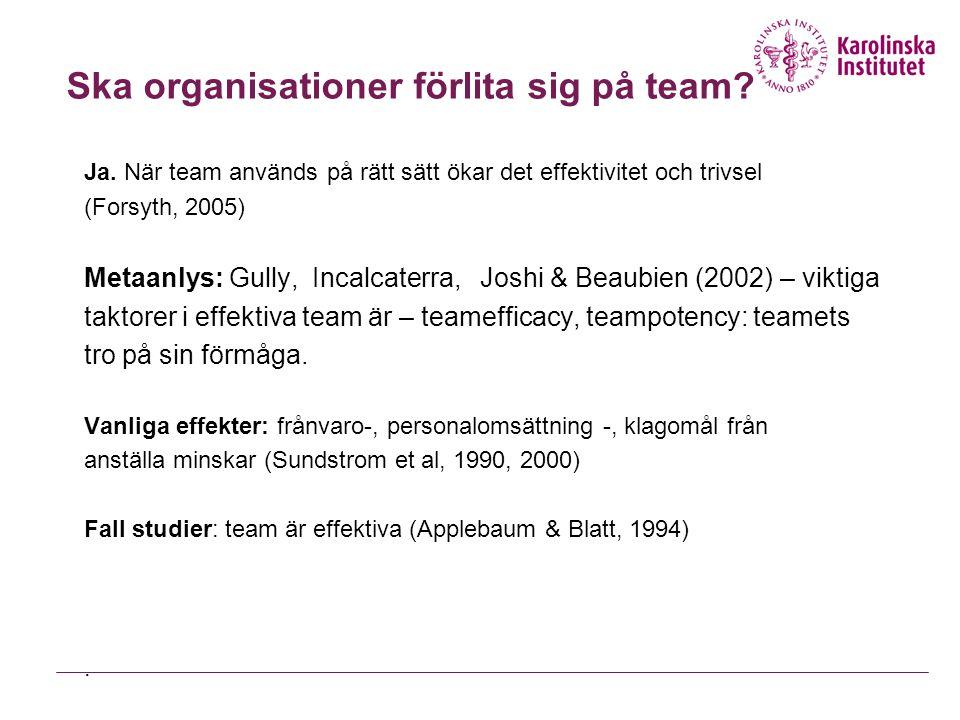 Typ av team FunktionExempel Management ExecutivePlanera och ge direktivLedningsgrupp Projekt FörhandlingÖvertalaLabor-management, international treaty