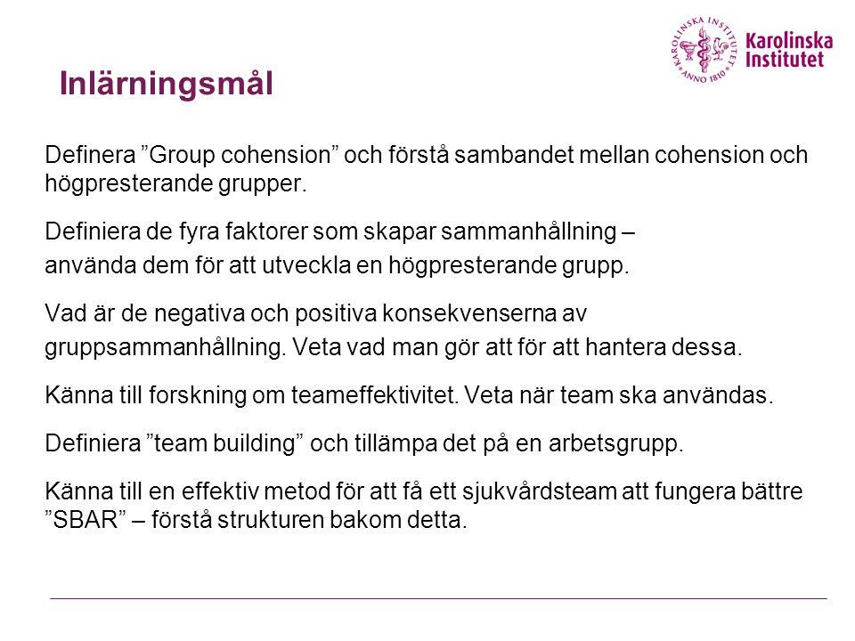 Exempel på enkät från ledare för att mäta sammanhållning Instämmer Helt Delvis Knappt Inte alls Hur tycker du att gruppen fungerar.