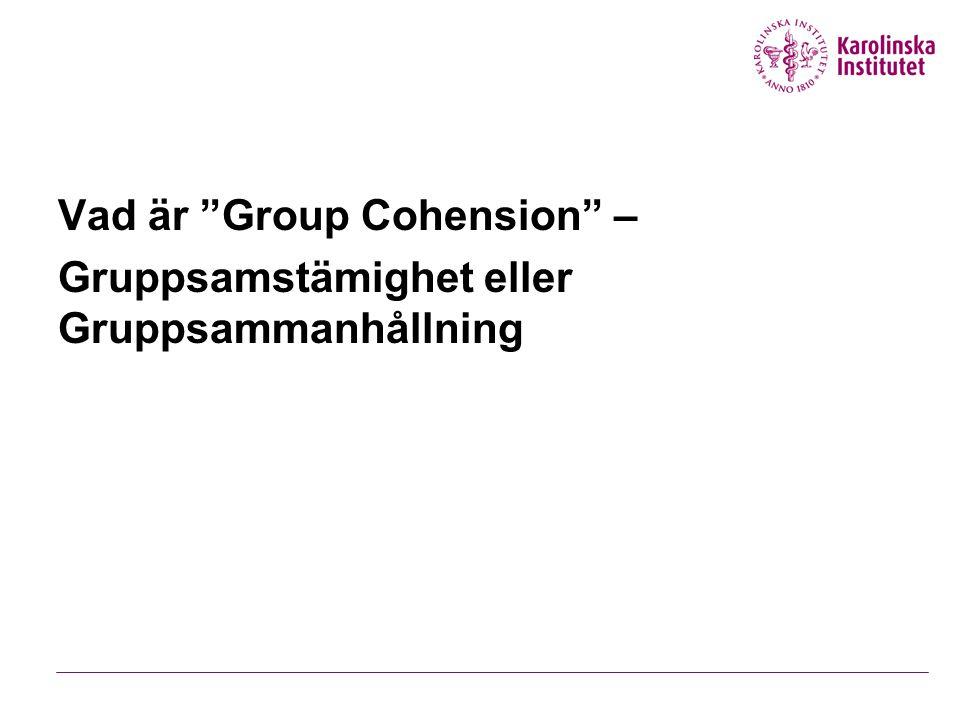 Inlärningsmål Definera Group cohension och förstå sambandet mellan cohension och högpresterande grupper.