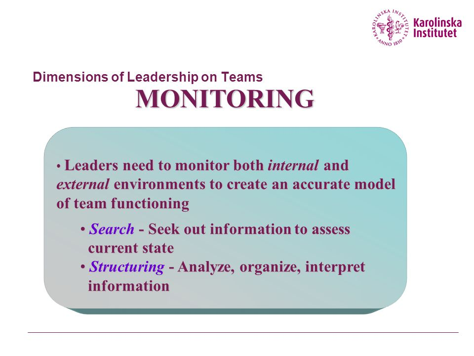 Dimensions of Leadership on Teams LEADER • One who processes and acts on information • Functions • Monitoring (objection mediation) • Action taking (a