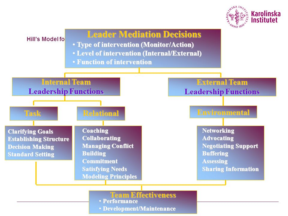 Effective Team Characteristics Leadership  Influences team effectiveness through four sets of processes (Zaccaro et al., 2001) –Cognitive –Cognitive - Facilitates the team's understanding of problems confronting them –Motivational –Motivational - Helps team become cohesive and capable by setting high performance standards and helping team to achieve them –Affective –Affective - Assists team in handling stressful circumstances by providing clear goals, assignments, and strategies –Integrative –Integrative - Helps coordinate team's activities through matching member roles, clear performance strategies, feedback, and adapting to environmental changes Eight Characteristics of Team Excellence Larson & LaFasto (1989)