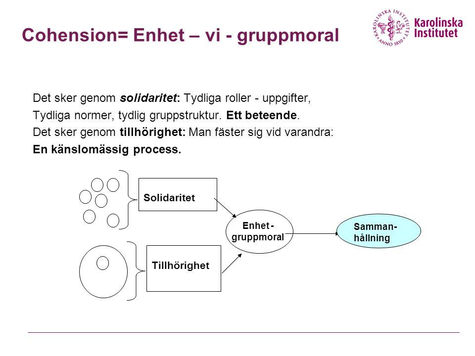 Cohension= Enhet – vi - gruppmoral Det sker genom solidaritet: Tydliga roller - uppgifter, Tydliga normer, tydlig gruppstruktur.