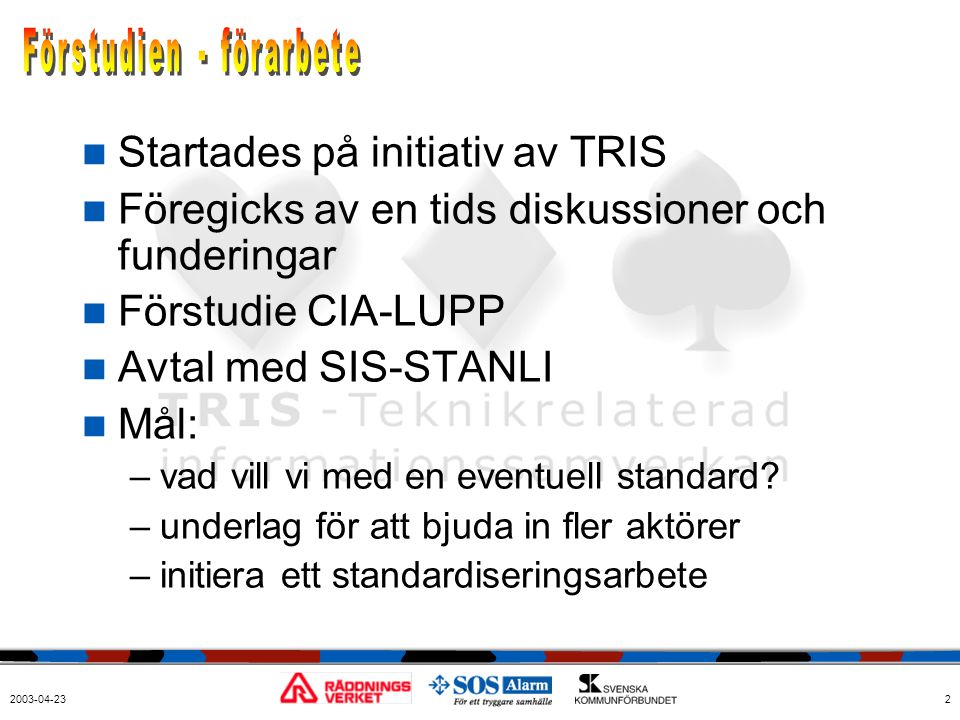 2003-04-232  Startades på initiativ av TRIS  Föregicks av en tids diskussioner och funderingar  Förstudie CIA-LUPP  Avtal med SIS-STANLI  Mål: –v