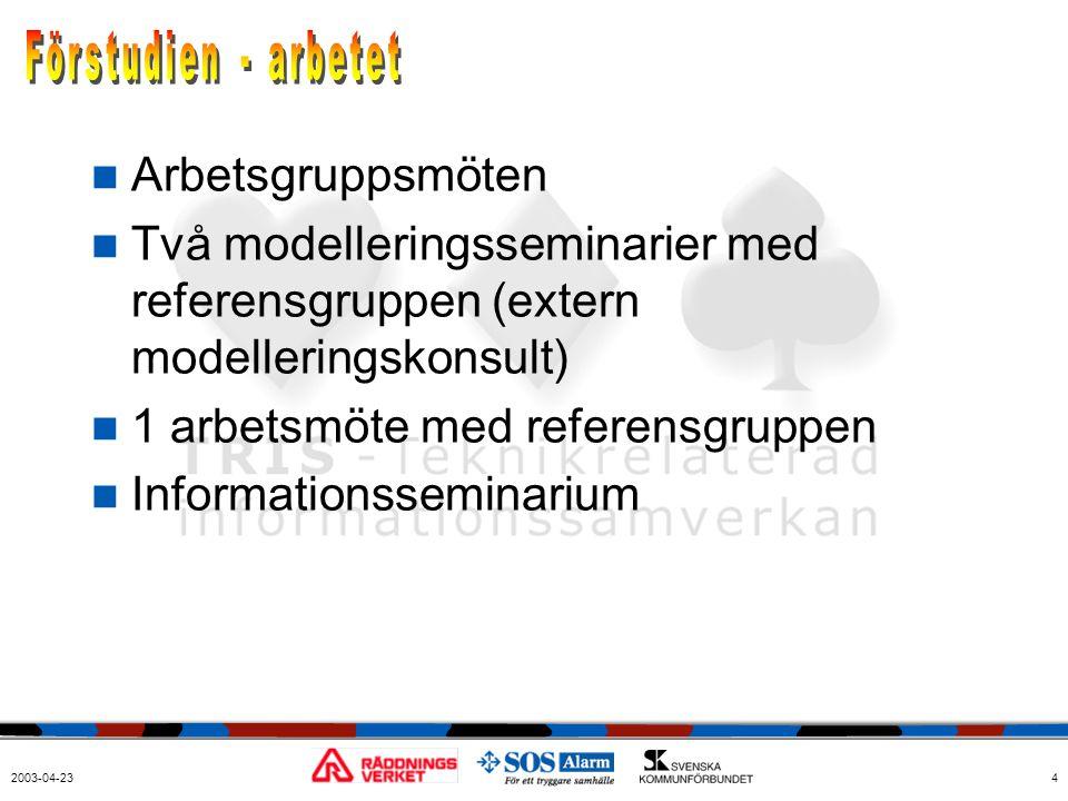 2003-04-234  Arbetsgruppsmöten  Två modelleringsseminarier med referensgruppen (extern modelleringskonsult)  1 arbetsmöte med referensgruppen  Inf