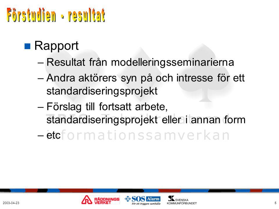 2003-04-235  Rapport –Resultat från modelleringsseminarierna –Andra aktörers syn på och intresse för ett standardiseringsprojekt –Förslag till fortsa