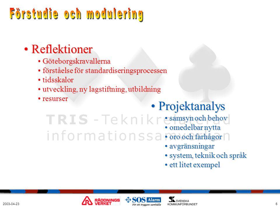 2003-04-236 • Reflektioner • Göteborgskravallerna • förståelse för standardiseringsprocessen • tidsskalor • utveckling, ny lagstiftning, utbildning •