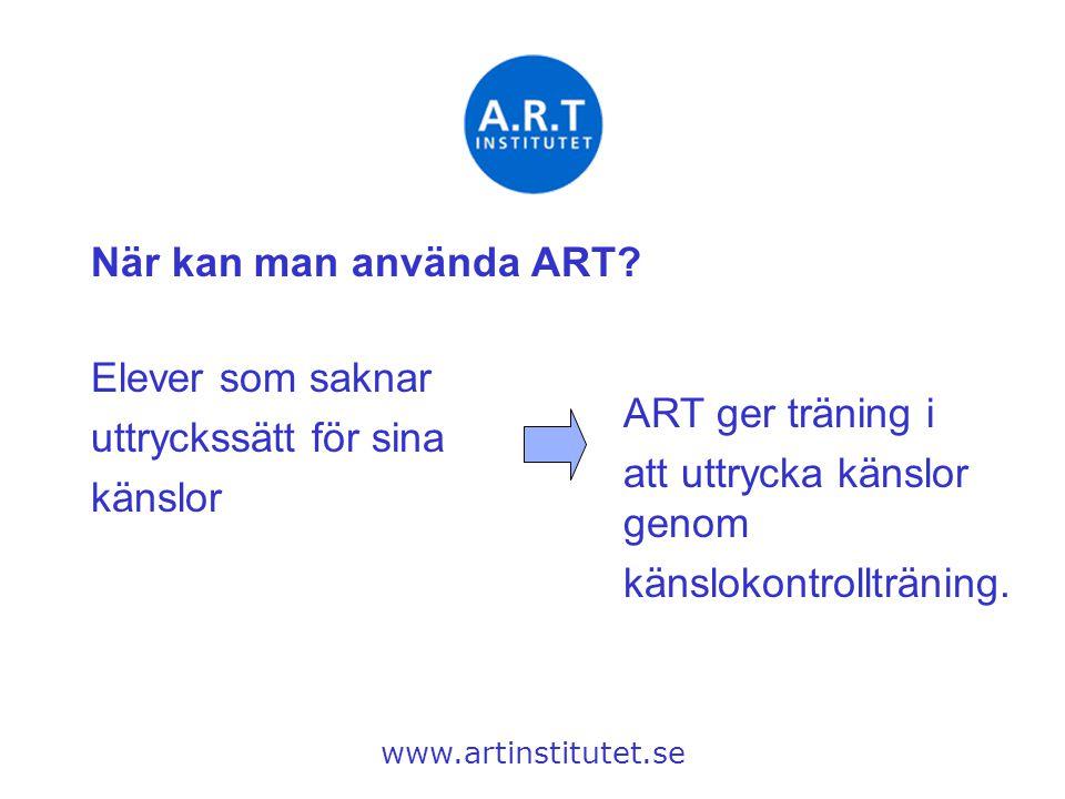 När kan man använda ART? www.artinstitutet.se Elever som saknar uttryckssätt för sina känslor ART ger träning i att uttrycka känslor genom känslokontr