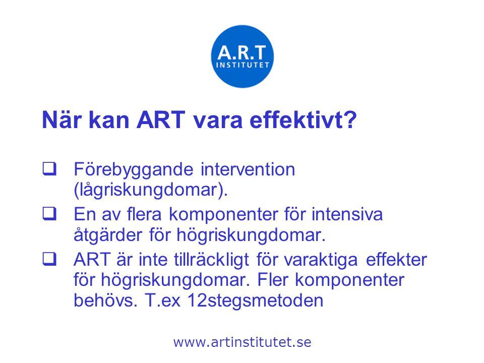 När kan ART vara effektivt?  Förebyggande intervention (lågriskungdomar).  En av flera komponenter för intensiva åtgärder för högriskungdomar.  ART