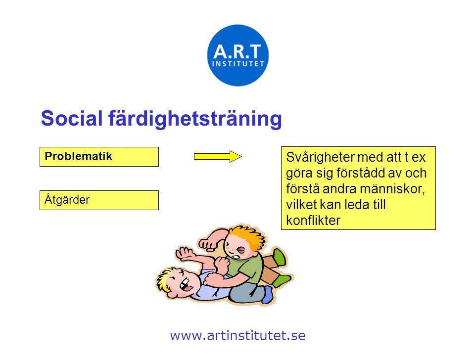 Social färdighetsträning www.artinstitutet.se Problematik Svårigheter med att t ex göra sig förstådd av och förstå andra människor, vilket kan leda ti