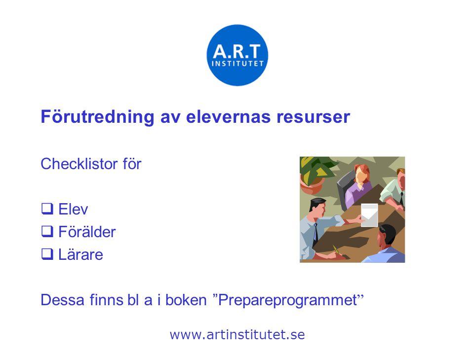 """Förutredning av elevernas resurser Checklistor för  Elev  Förälder  Lärare Dessa finns bl a i boken """"Prepareprogrammet """" www.artinstitutet.se"""
