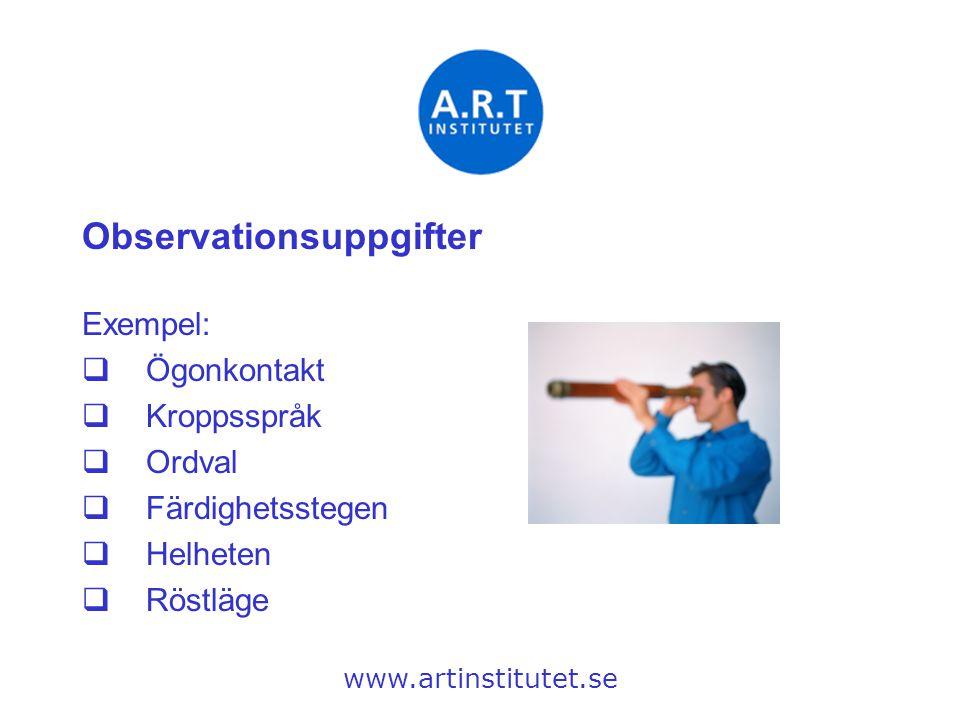 Observationsuppgifter Exempel:  Ögonkontakt  Kroppsspråk  Ordval  Färdighetsstegen  Helheten  Röstläge www.artinstitutet.se