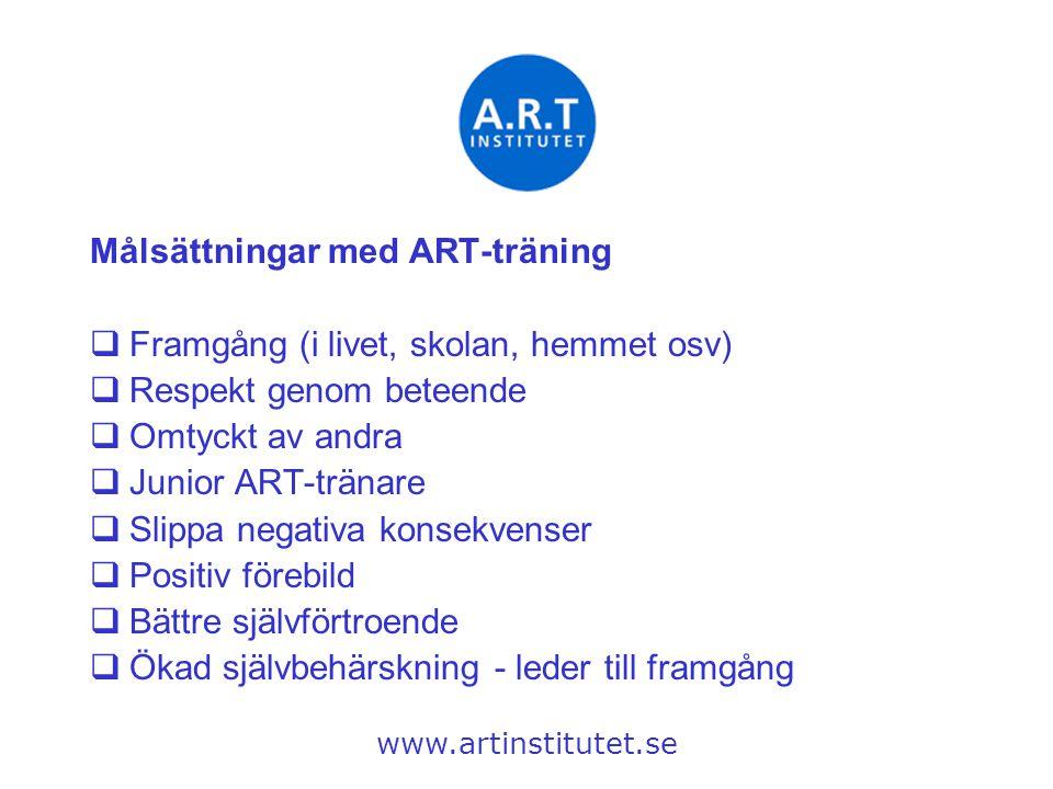 Målsättningar med ART-träning  Framgång (i livet, skolan, hemmet osv)  Respekt genom beteende  Omtyckt av andra  Junior ART-tränare  Slippa negat