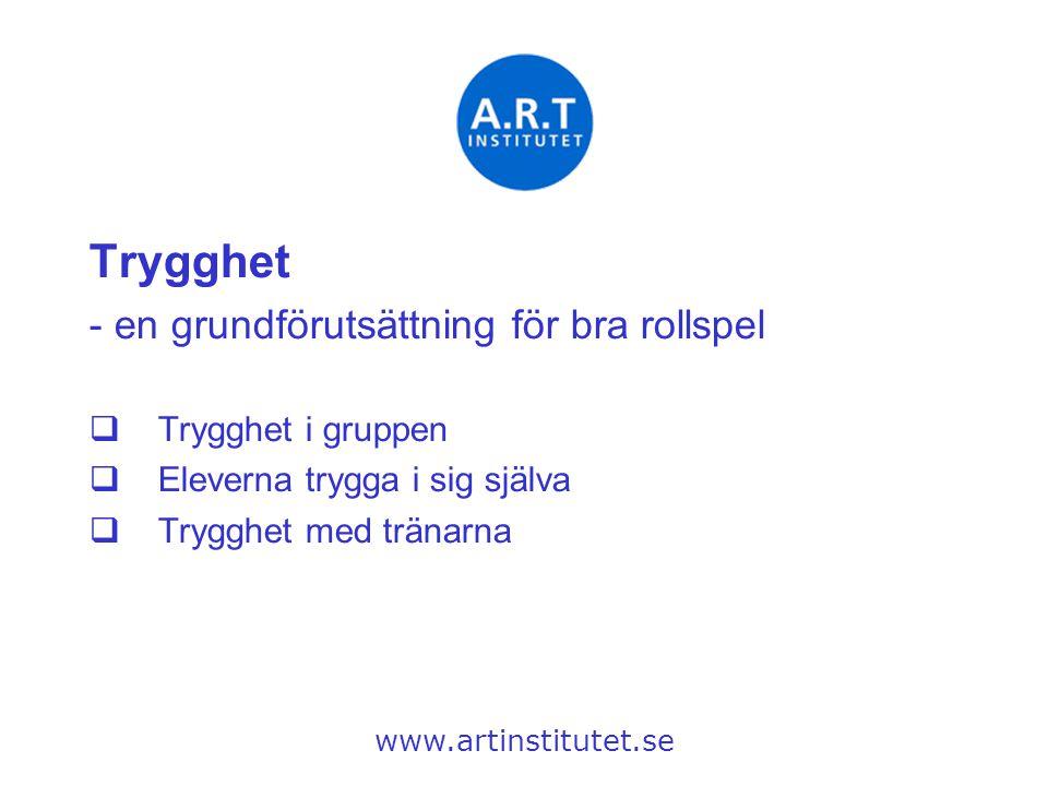 Trygghet - en grundförutsättning för bra rollspel  Trygghet i gruppen  Eleverna trygga i sig själva  Trygghet med tränarna www.artinstitutet.se