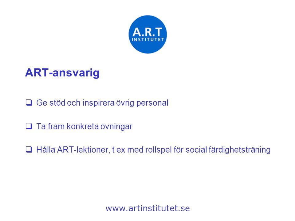 ART-ansvarig  Ge stöd och inspirera övrig personal  Ta fram konkreta övningar  Hålla ART-lektioner, t ex med rollspel för social färdighetsträning