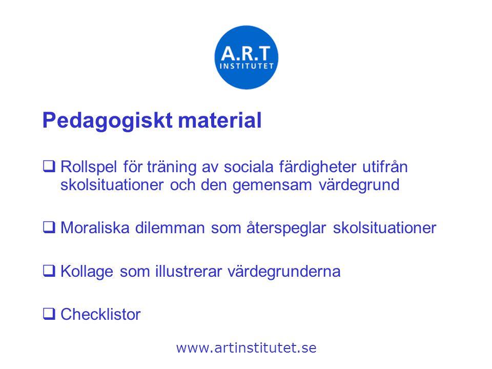 Pedagogiskt material  Rollspel för träning av sociala färdigheter utifrån skolsituationer och den gemensam värdegrund  Moraliska dilemman som återsp