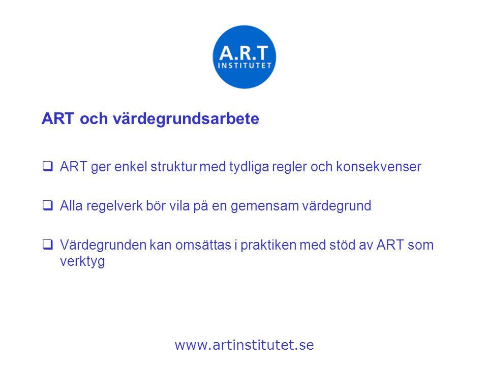ART och värdegrundsarbete  ART ger enkel struktur med tydliga regler och konsekvenser  Alla regelverk bör vila på en gemensam värdegrund  Värdegrun