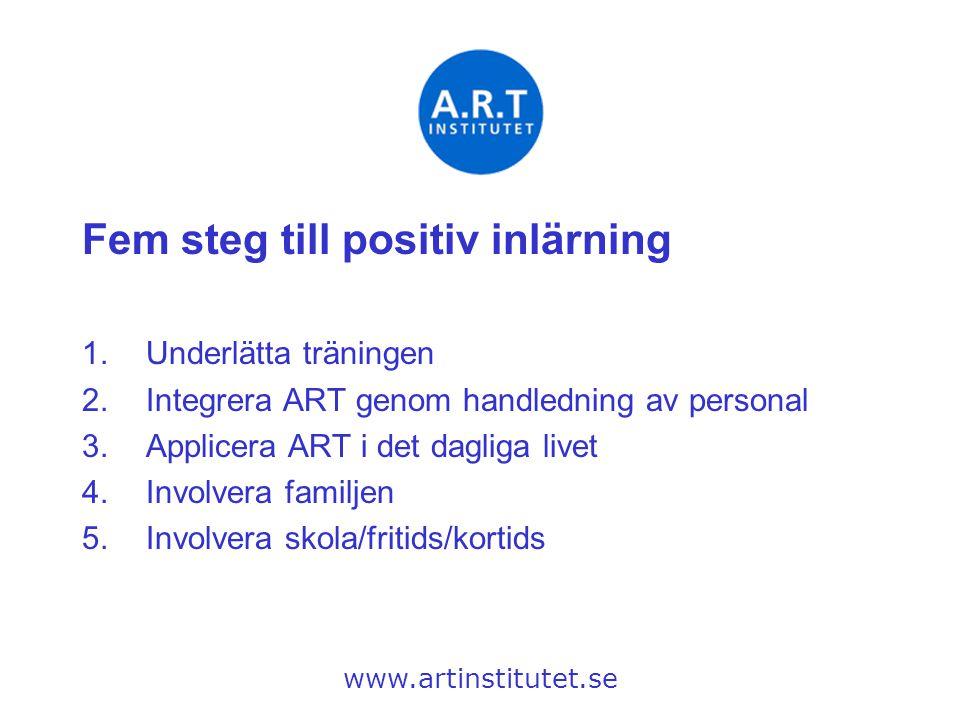 Fem steg till positiv inlärning 1.Underlätta träningen 2.Integrera ART genom handledning av personal 3.Applicera ART i det dagliga livet 4.Involvera f