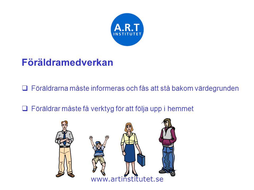 Föräldramedverkan  Föräldrarna måste informeras och fås att stå bakom värdegrunden  Föräldrar måste få verktyg för att följa upp i hemmet www.artins