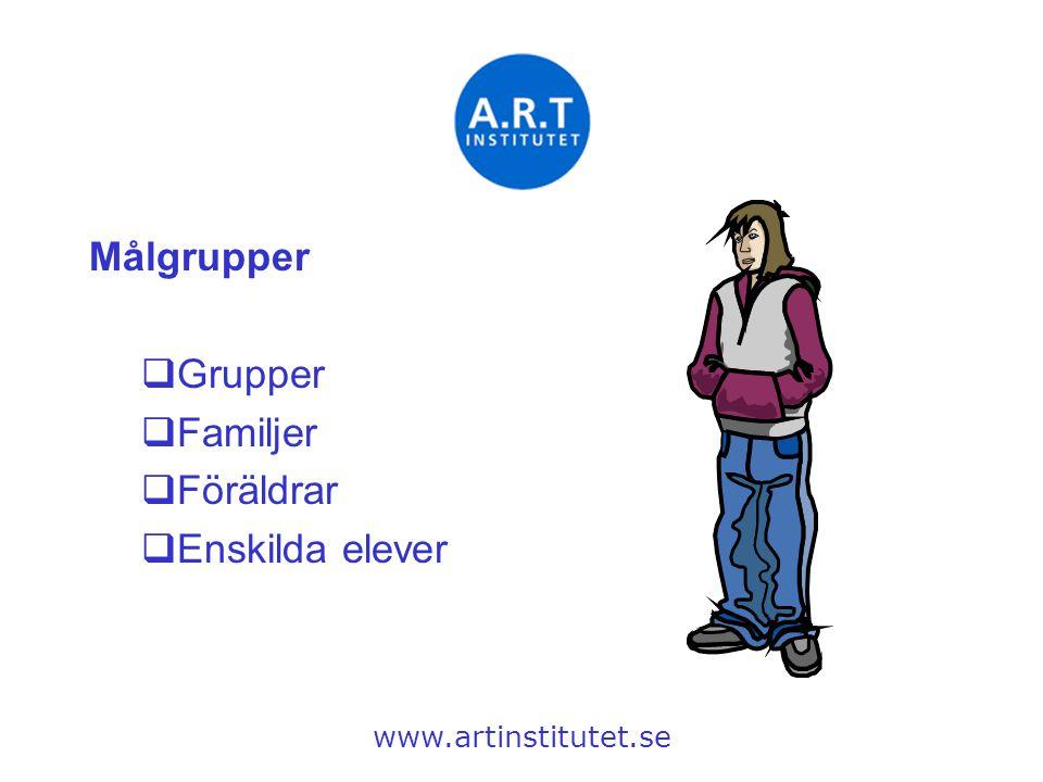 Målgrupper  Grupper  Familjer  Föräldrar  Enskilda elever www.artinstitutet.se