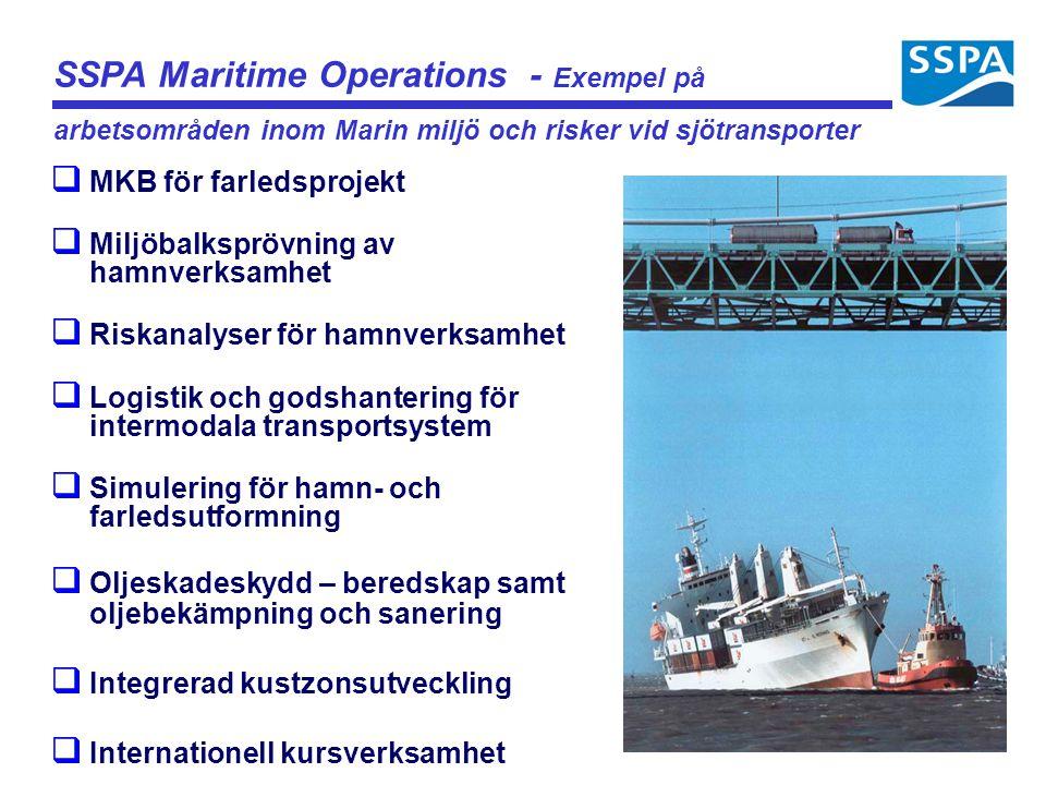 q MKB för farledsprojekt q Miljöbalksprövning av hamnverksamhet q Riskanalyser för hamnverksamhet q Logistik och godshantering för intermodala transpo