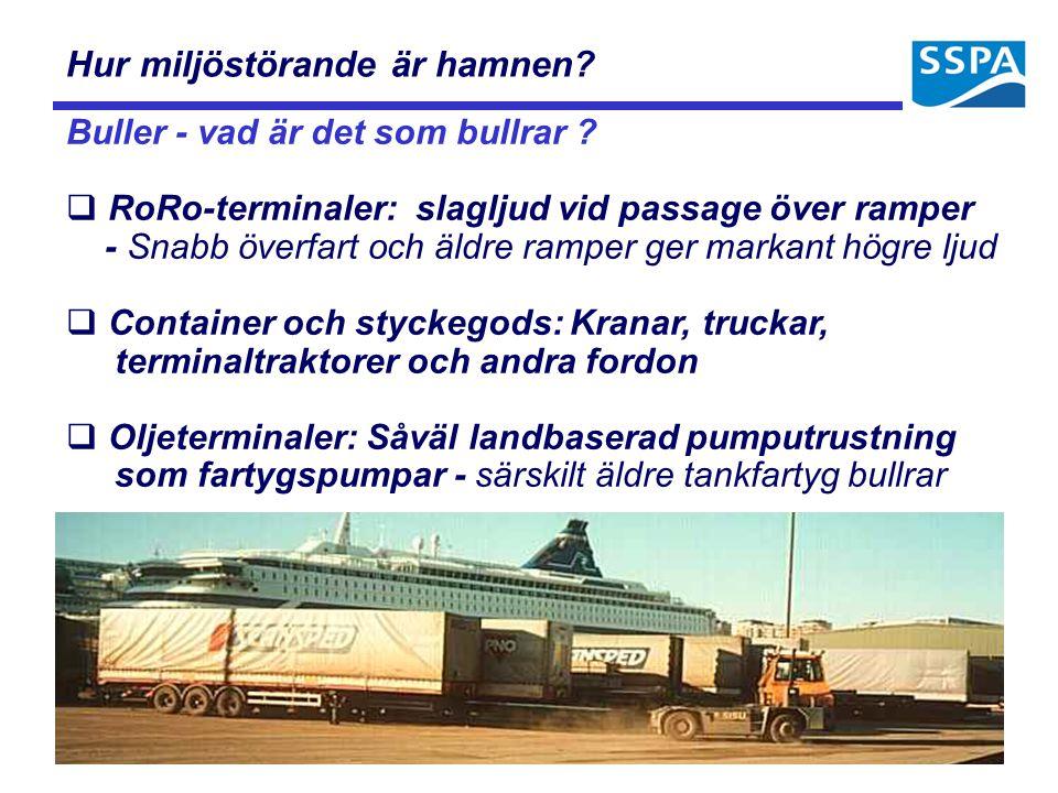 Hur miljöstörande är hamnen? Buller - vad är det som bullrar ?  RoRo-terminaler: slagljud vid passage över ramper - Snabb överfart och äldre ramper g