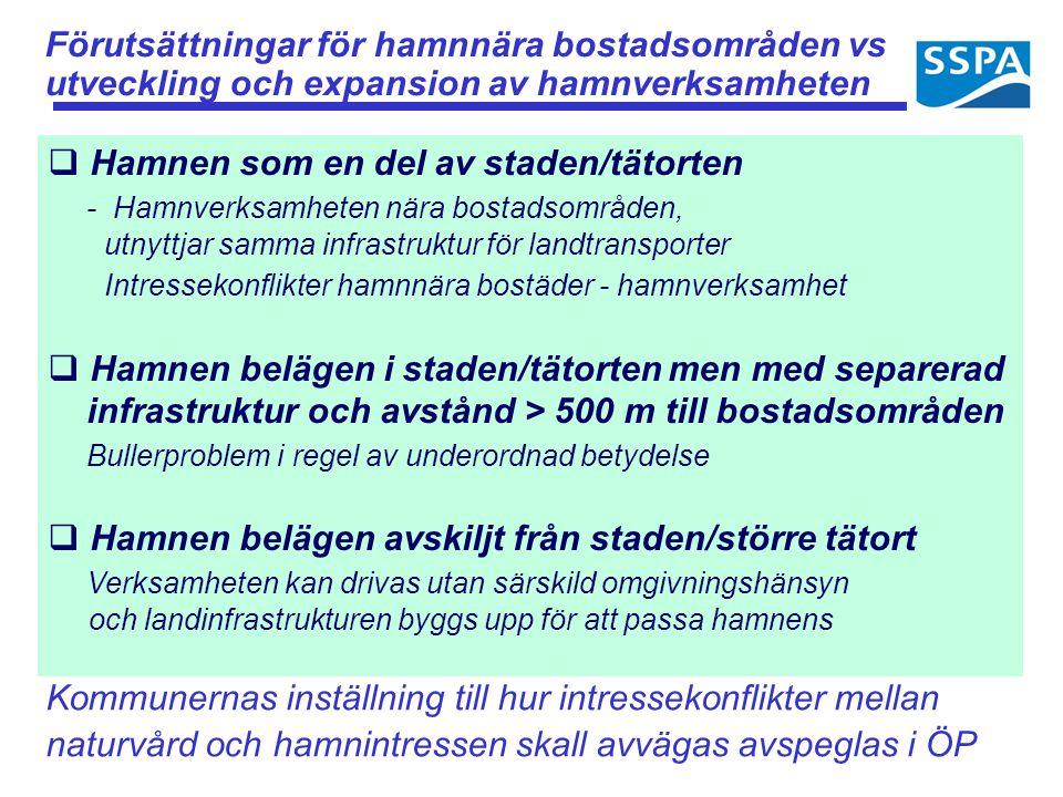 Förutsättningar för hamnnära bostadsområden vs utveckling och expansion av hamnverksamheten  Hamnen som en del av staden/tätorten - Hamnverksamheten