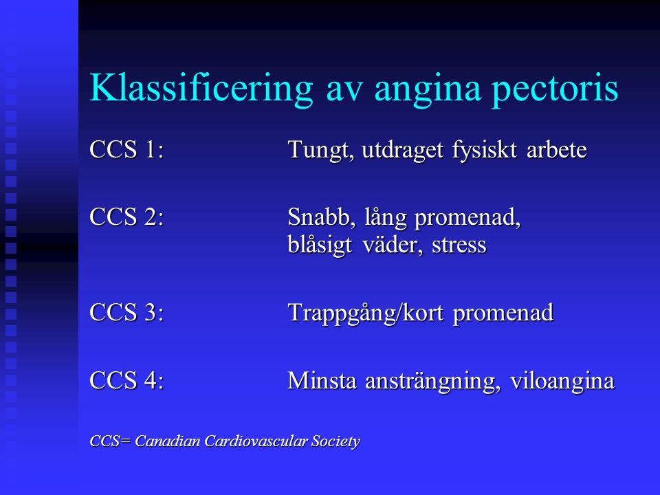 Klassificering av angina pectoris CCS 1:Tungt, utdraget fysiskt arbete CCS 2:Snabb, lång promenad, blåsigt väder, stress CCS 3:Trappgång/kort promenad CCS 4:Minsta ansträngning, viloangina CCS= Canadian Cardiovascular Society