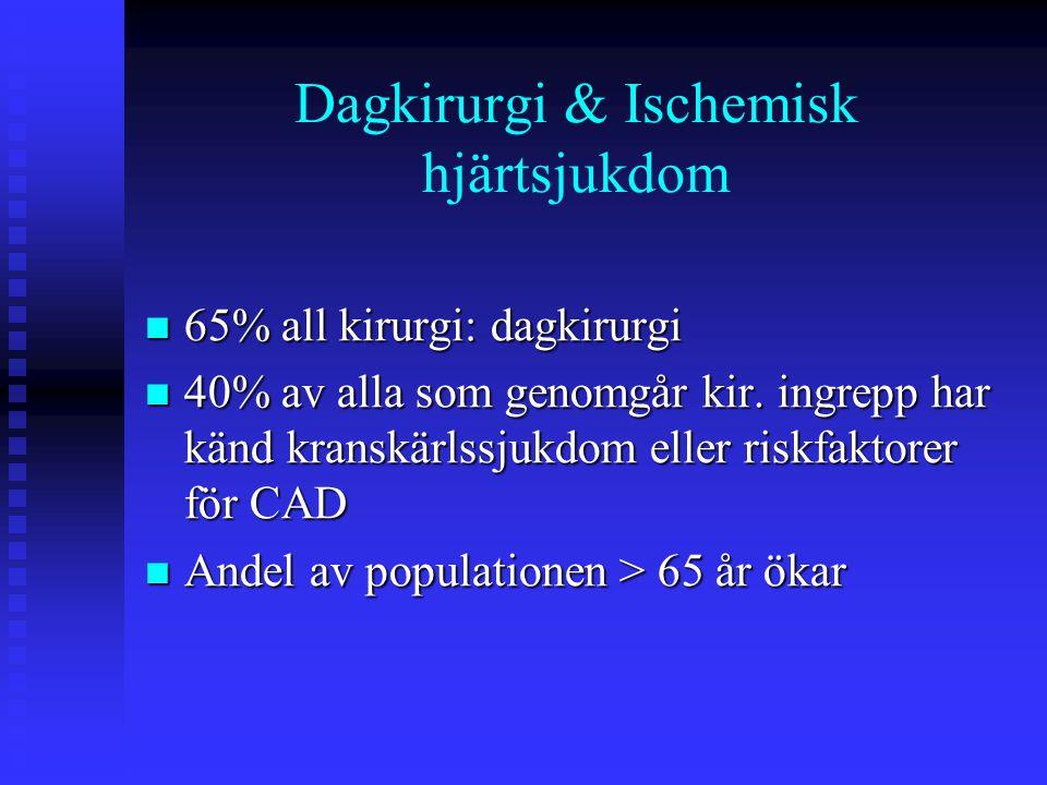 Typ av kirurgi och kardiovaskulär risk Hög (risk för kardiella komplikationer > 5%):  Akut kirurgi  Stor kärlkirurgi  Perifer kärlkirurgi  Ingrepp associerade med stora vätske skiften och/eller blodförlust