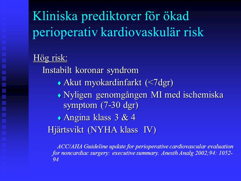 Kliniska prediktorer för ökad perioperativ kardiovaskulär risk Hög risk: Instabilt koronar syndrom  Akut myokardinfarkt (<7dgr)  Nyligen genomgången MI med ischemiska symptom (7-30 dgr)  Angina klass 3 & 4 Hjärtsvikt (NYHA klass IV) Hjärtsvikt (NYHA klass IV) ACC/AHA Guideline update for perioperative cardiovascular evaluation for noncardiac surgery: executive summary.