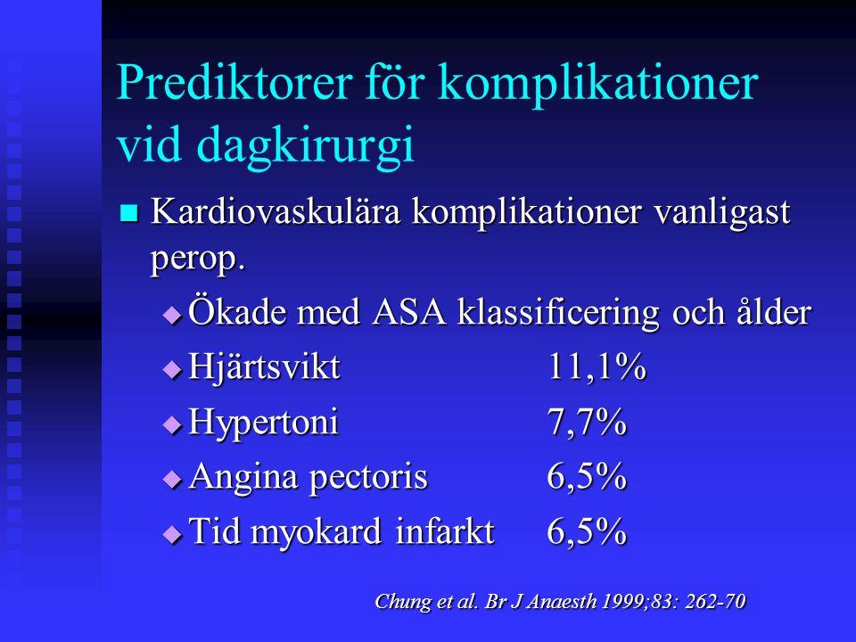 Prediktorer för komplikationer vid dagkirurgi  Kardiovaskulära komplikationer vanligast perop.