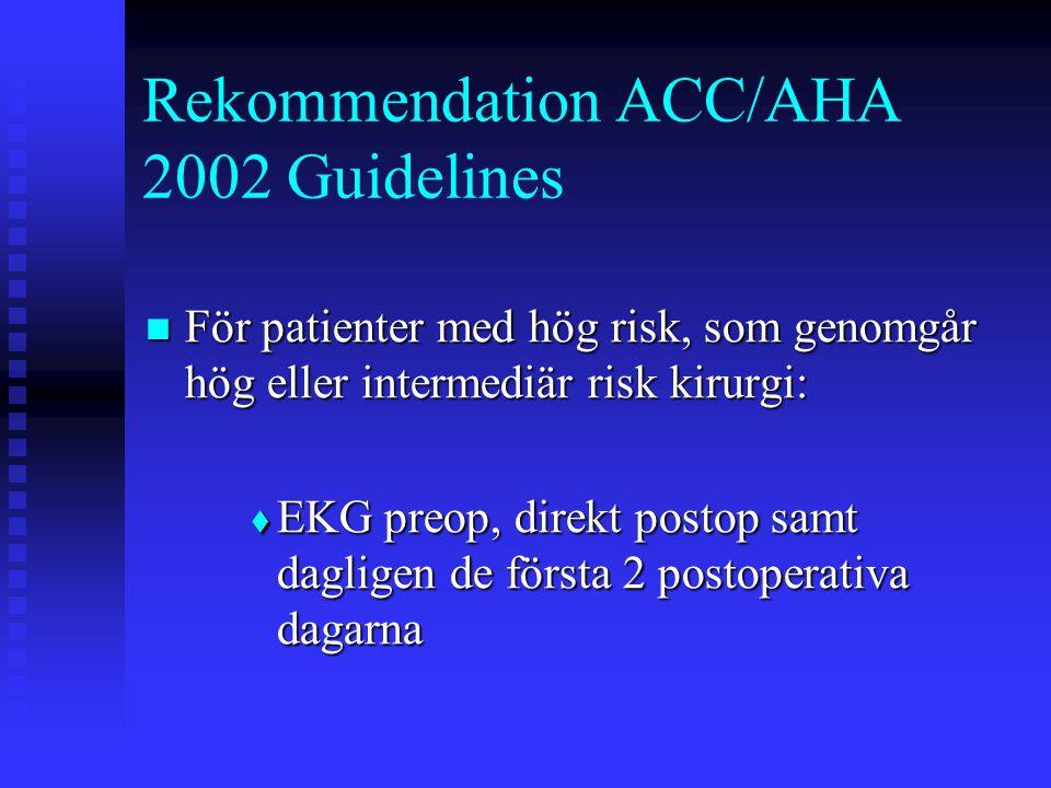 Rekommendation ACC/AHA 2002 Guidelines  För patienter med hög risk, som genomgår hög eller intermediär risk kirurgi:  EKG preop, direkt postop samt dagligen de första 2 postoperativa dagarna