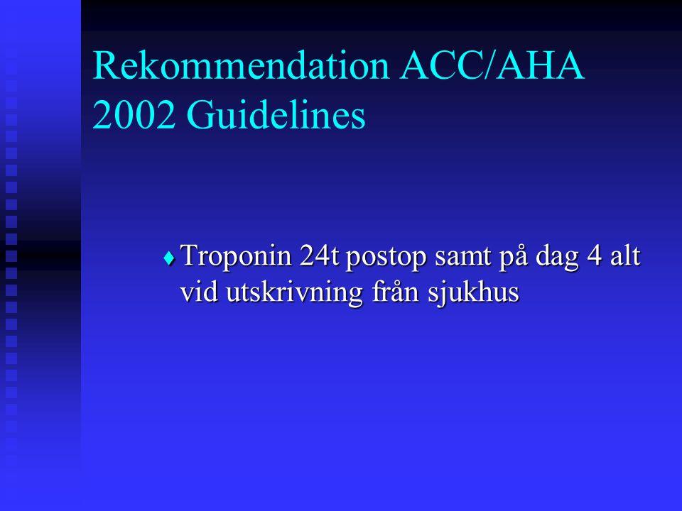  Troponin 24t postop samt på dag 4 alt vid utskrivning från sjukhus Rekommendation ACC/AHA 2002 Guidelines