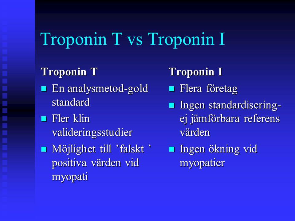 Troponin T vs Troponin I Troponin T  En analysmetod-gold standard  Fler klin valideringsstudier  Möjlighet till 'falskt ' positiva värden vid myopati Troponin I  Flera företag  Ingen standardisering- ej jämförbara referens värden  Ingen ökning vid myopatier