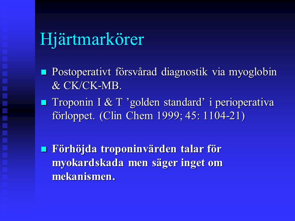 Intermediär risk: Risk för kardiovaskulär komplikation 1-5%  Carotiskirurgi  'Huvud & halskirurgi'  Intraabdominell & intrathorakal kirurgi  Ortopedisk kirurgi  Prostata kirurgi Typ av kirurgi och kardiovaskulär risk