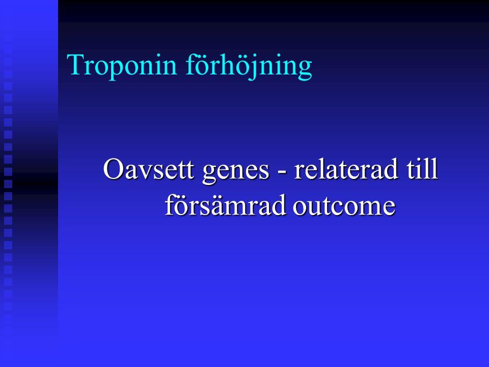 Oberoende prediktorer för förhöjda TnT värden postoperativt:  Takycardi (OR: 11.5)  Insulin (OR: 5.7)  Antikoagulantia (OR:2.6)  Diuretika (OR: 3.2 )