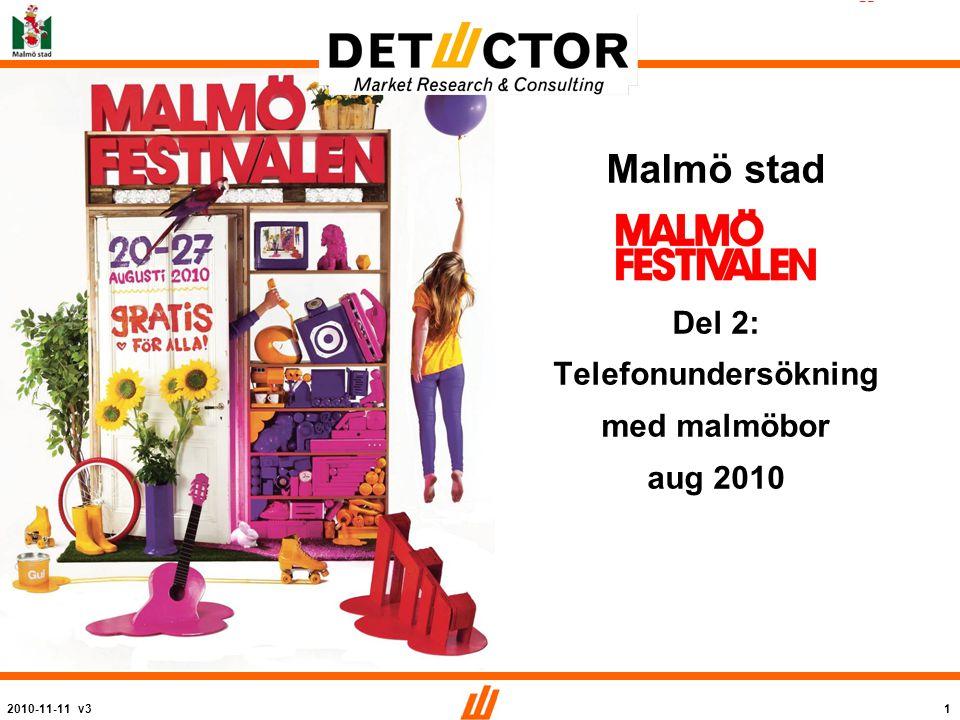 2010-11-11 v32 2010 Bakgrund och syfte Malmö stad arrangerar årligen Malmöfestivalen.