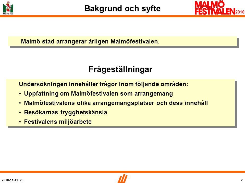 2010-11-11 v33 2010 Metod Detta är del 2 av 2 i en undersökning av Malmöfestivalen.