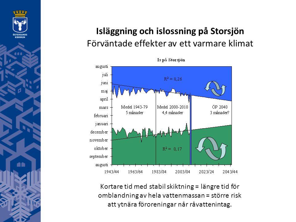 Kortare tid med stabil skiktning = längre tid för omblandning av hela vattenmassan = större risk att ytnära föroreningar når råvattenintag. Isläggning