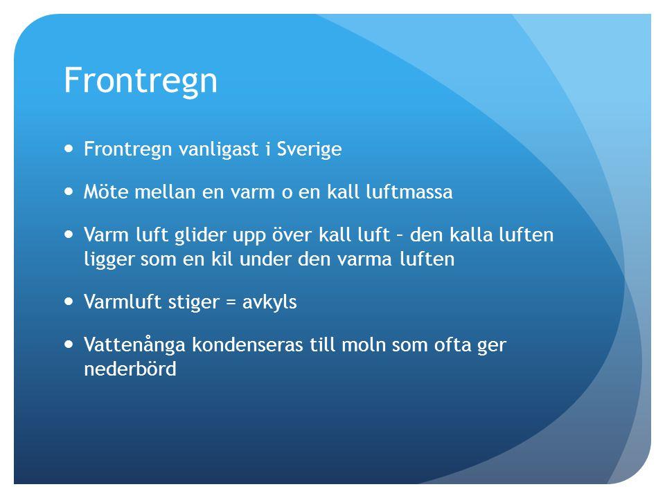 Frontregn  Frontregn vanligast i Sverige  Möte mellan en varm o en kall luftmassa  Varm luft glider upp över kall luft – den kalla luften ligger so